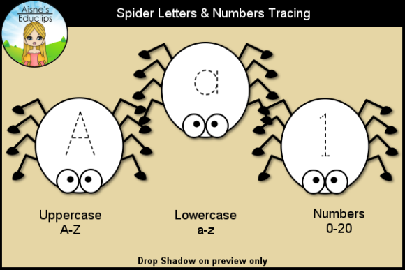 Print on Demand: Spider Letter & Numbers Tracing Clip Art Graphic Teaching Materials By Aisne Educlips