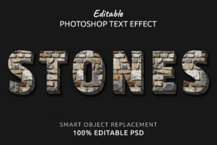 Print on Demand: Stones Photoshop Editable Text Effect Graphic Layer Styles By IYIKON