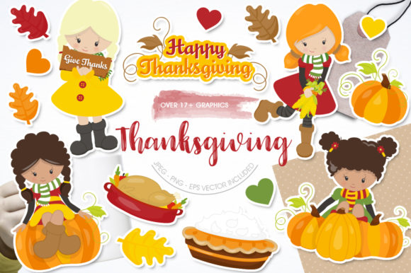 Print on Demand: Thanksgiving Girls Graphic Graphic Templates By Prettygrafik