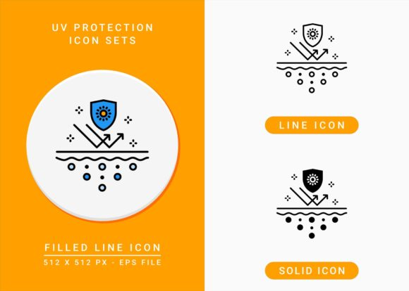 Print on Demand: UV Protection Icons Set Graphic Icons By zenorman03