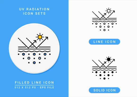 Print on Demand: UV Radiation Icons Set Graphic Icons By zenorman03
