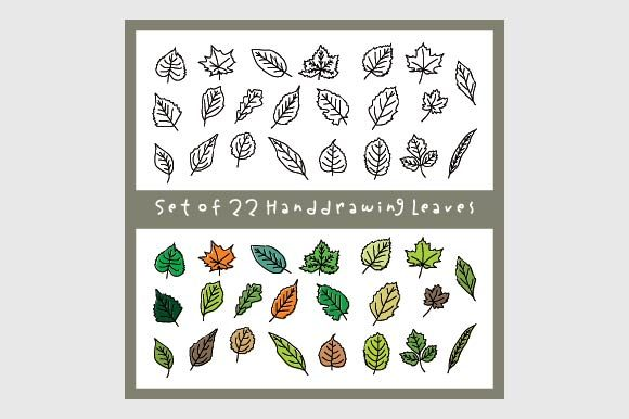 Unique Leaves Illustration Handdrawing Graphic Illustrations By emnazar2009