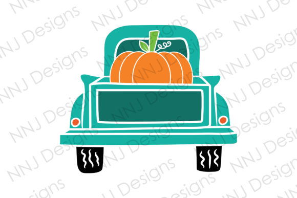 Print on Demand: Vintage Truck with Pumpkin Svg Clipart Graphic Illustrations By NNJ Designs