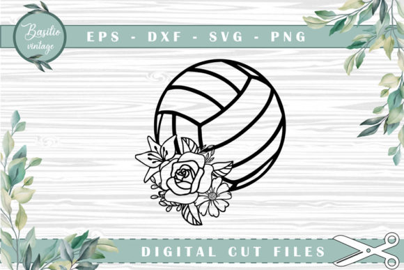 Volleyball Floral Cutting Files Graphic Crafts By basilio.vintage