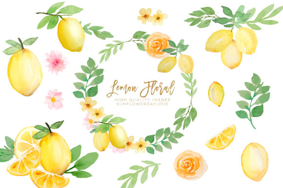 Print on Demand: Watercolor Lemon Citrus Fruit Clipart Graphic Illustrations By SunflowerLove