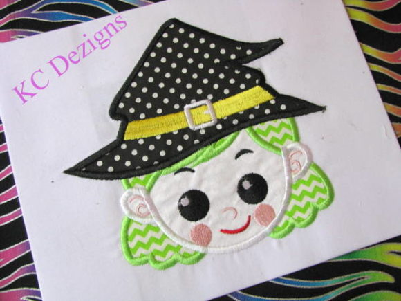 Witchy Girl Halloween Embroidery Design By karen50