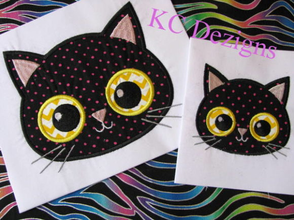 Yellow Eyed Halloween Cat Halloween Embroidery Design By karen50