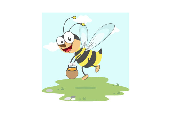 Print on Demand: Cute Bee Illustration Design Graphic Illustrations By curutdesign