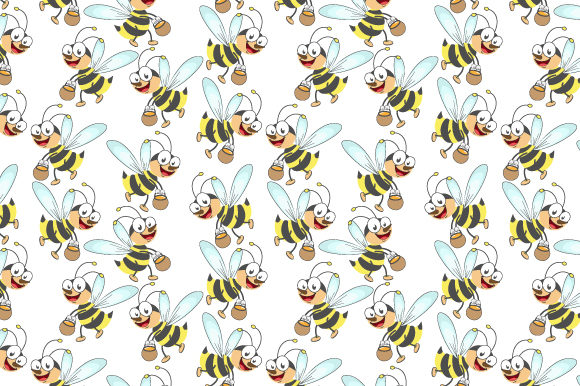 Print on Demand: Pattern Design, with Cute Bee Cartoon Graphic Patterns By curutdesign