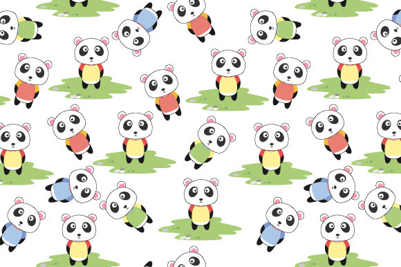 Print on Demand: Pattern Design, with Cute Panda Cartoon Graphic Patterns By curutdesign