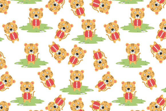 Print on Demand: Pattern Design, with Cute Tiger Cartoon Graphic Patterns By curutdesign