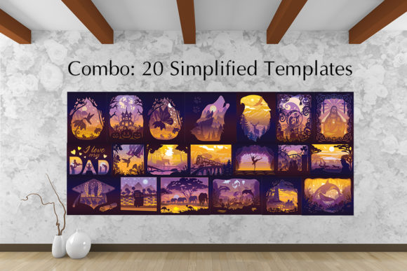 20 Simplified Templates Light Box Graphic 3D Shadow Box By LightBoxGoodMan