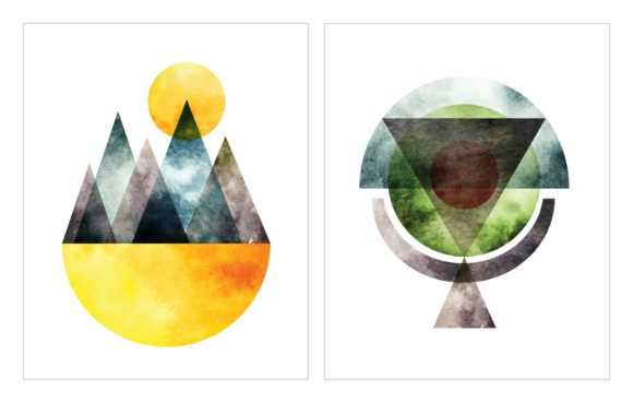 Abstract Water Color Wall Art Graphic Illustrations By Big Barn Doodles