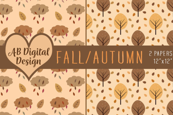 Autumn Fall Digital Paper Trees Leaves Graphic By Ab Digital Design Creative Fabrica