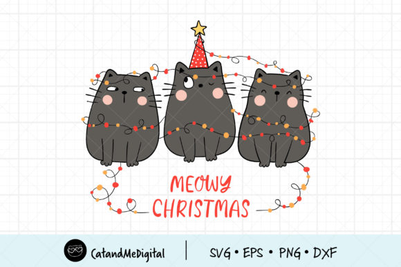 Black Cat Meowy Christmas Clip Art Graphic Illustrations By CatAndMe