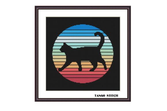 Black Cat Silhouette Cross Stitch Graphic Cross Stitch Patterns By Tango Stitch