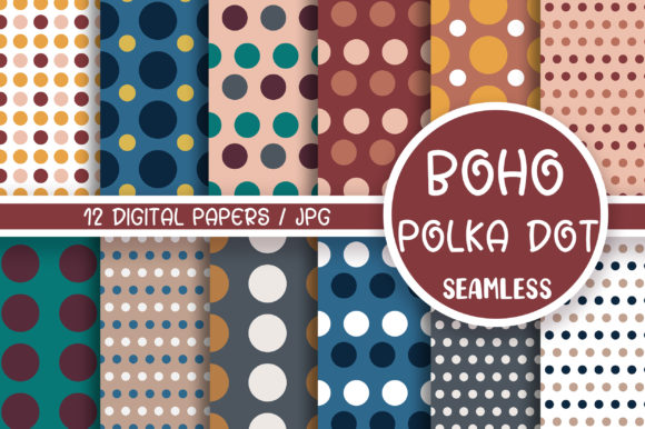 Boho Polka Dot Seamless Pattern Graphic Backgrounds By PinkPearly