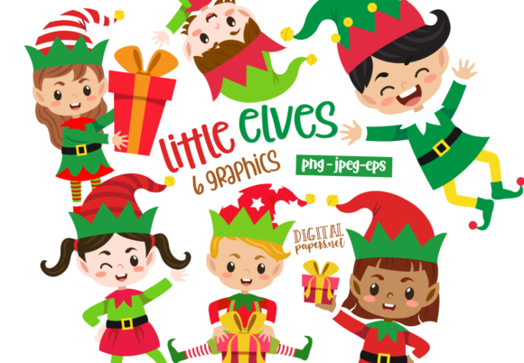 Print on Demand: Christmas Little Elves Graphic Illustrations By DigitalPapers