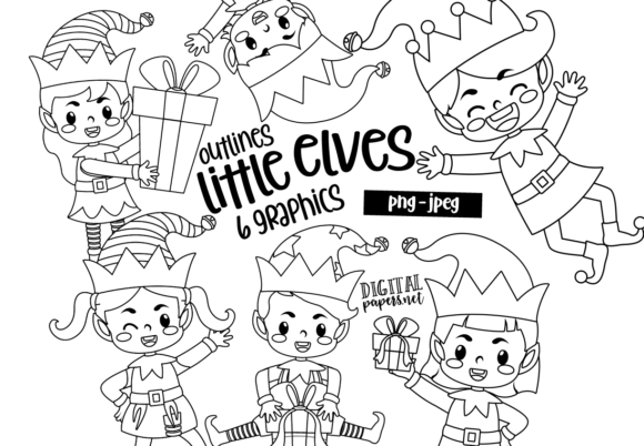 Print on Demand: Christmas Little Elves - Outlines Graphic Illustrations By DigitalPapers