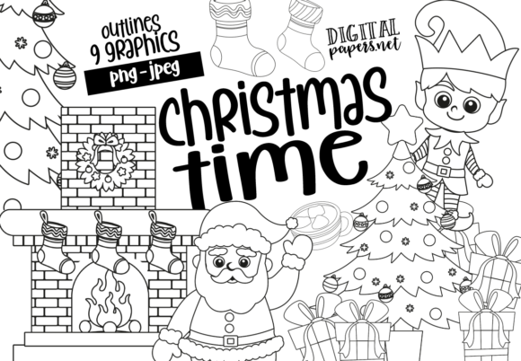 Print on Demand: Christmas Time - Outlines Graphic Illustrations By DigitalPapers