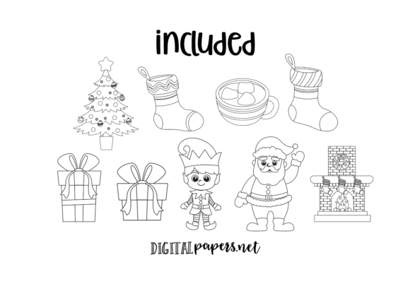 Christmas Time - Outlines Graphic Download