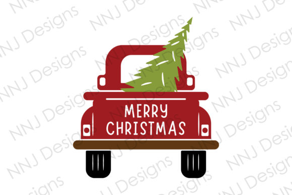 Print on Demand: Christmas Truck with Tree SVG Clipart Graphic Illustrations By NNJ Designs