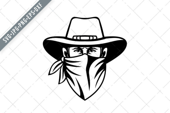 Print on Demand: Cowboy Wearing Face Mask Graphic Illustrations By patrimonio