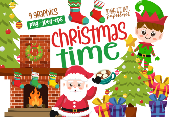 Print on Demand: Cute Christmas Time Graphic Illustrations By DigitalPapers