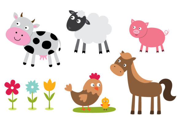 Cute Farm Set, 10 PNG Images Graphic Illustrations By lattesmile