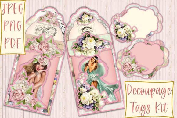 Print on Demand: Decoupage Tag Kit for Cards and Journals Gráfico Crafts Por The Paper Princess