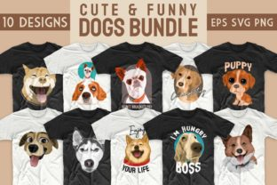 Print on Demand: Dogs Bundle Svg T-shirt Designs Graphic Print Templates By Universtock