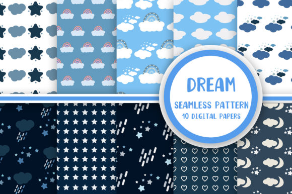 Dream Seamless Pattern Digital Papers Graphic Patterns By PearlyDaisy