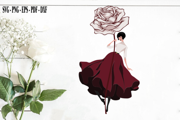 Print on Demand: Fashion Girl Clipart with Rose Vector Graphic Print Templates By Hana Design