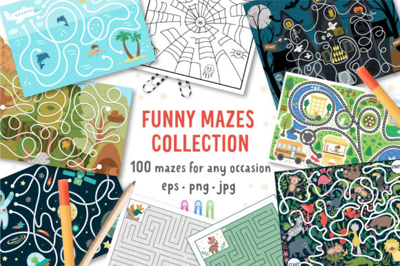 Funny Mazes Collection Graphic Teaching Materials By lexiclaus