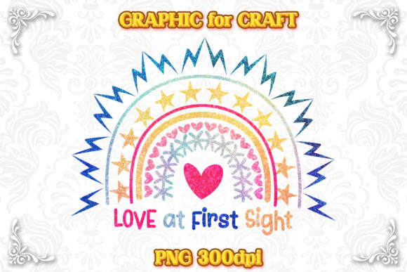 Print on Demand: Glitter Rainbow Boho Girl Love First PNG Graphic Crafts By numnim