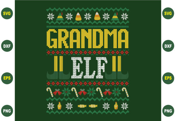Grandma Christmas Sweater Graphic Crafts By BDB_Graphics