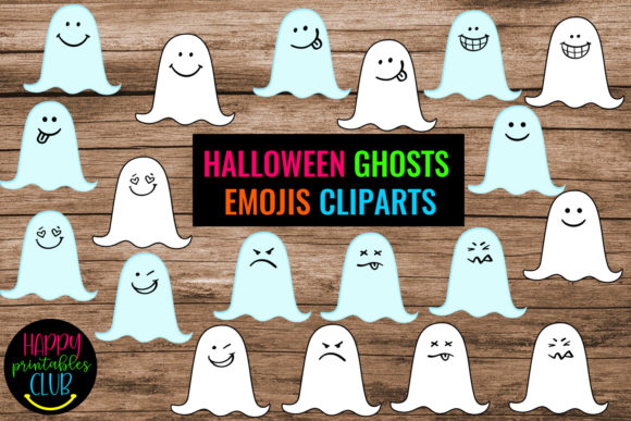 Print on Demand: Halloween Ghosts Emojis Cliparts Graphic Graphic Illustrations By Happy Printables Club