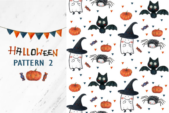 Halloween Seamless Pattern Ghost and Owl Graphic Patterns By tobagu