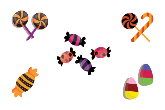 Halloween Vector Illustration Candy Set Graphic Illustrations By 1riaspengantin