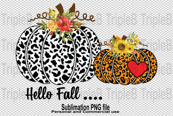 Print on Demand: Hello Fall Pumpkin Leopard  Sublimation Graphic Crafts By TripleBcraft