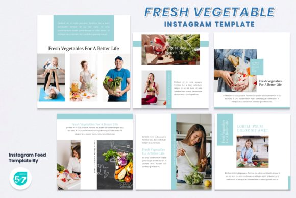 Instagram Feed Template-Fresh Vegetable Graphic Presentation Templates By 57creative