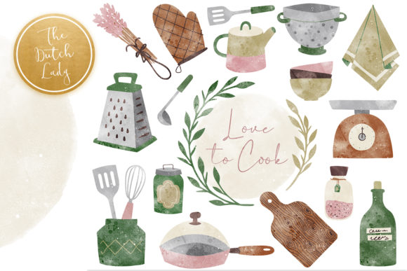 Print on Demand: Kitchen Clipart, Cooking Clipart, Kitche Graphic Illustrations By daphnepopuliers