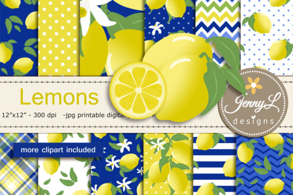 Lemon Digital Papers and Clipart Graphic Patterns By jennyL_designs