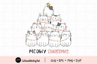Meowy Christmas Cat Clip Art Graphic Illustrations By CatAndMe