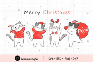Merry Christmas Santa Cat Clip Art Graphic Illustrations By CatAndMe