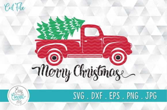 Merry Christmas Truck and Tree SVG Graphic Crafts By EasyConceptSvg