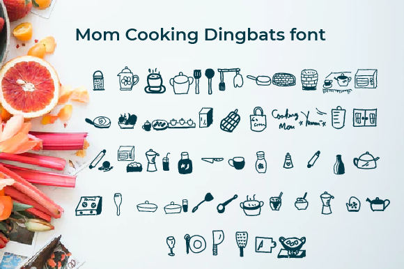 Print on Demand: Mom Cooking Dingbats Font By Yafont