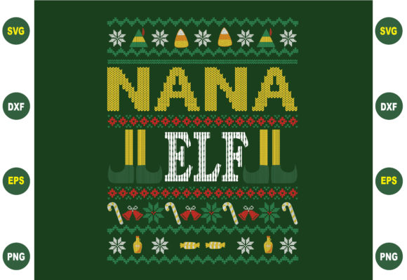 Print on Demand: Nana Ugly Christmas Sweater Design Graphic Crafts By BDB_Graphics
