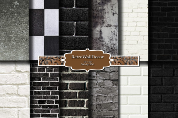 Print on Demand: Old Brick Wall Background Graphic Backgrounds By retrowalldecor