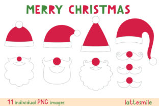 Santa Hats, Beards, Mustaches Graphic Illustrations By lattesmile